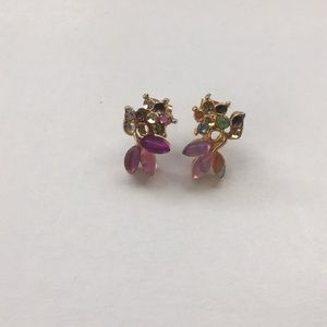 Vintage Multicolored Rhinestones Flowers Earrings